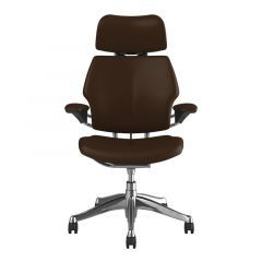 Humanscale Freedom Headrest - Brown Ticino Leather w/ Polished Frame