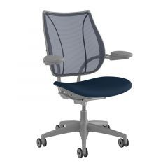 Humanscale Liberty Task Chair - Silver w/ Blue Seat