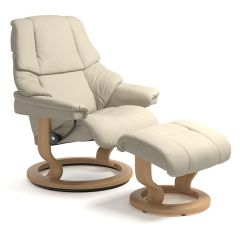 Stressless Reno Recliner and Footstool provide the most comfortable living room experience with features that enhance the comfort and support for the user.