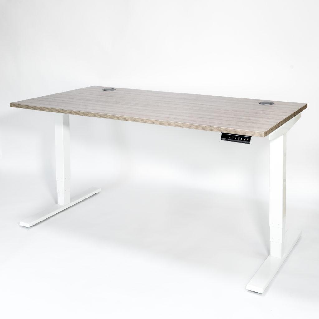 Liike Sit-Stand Desk Driftwood Top White Frame