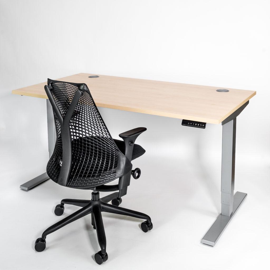 Liike Sit Stand Desk Beech Top Silver Frame Herman Miller Sayl